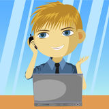 Make Call. A guy making call to customer or answering customer call.Guy Stock Photography