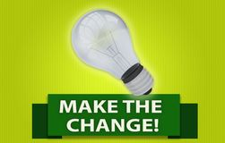 MAKE THE CHANGE! concept with banner and light bulb. Colorful MAKE THE CHANGE! concept with green text banner and 3d rendered domestic light bulb, isolated with Royalty Free Stock Photography