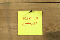 Make a change note Stock Photos