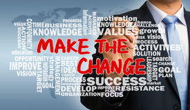 Make the change with related word cloud hand drawing by business Royalty Free Stock Image