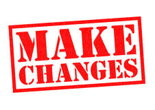 MAKE CHANGES. Red Rubber Stamp over a white background Stock Photo