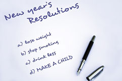 Make a child resolution. New year resolution of making  a child Stock Photography