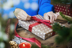 Make christmas presents and wrapping papers. Royalty Free Stock Photo