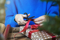 Make christmas presents and wrapping papers. Stock Photos