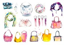 Accessories: scarf, bag, belts. Watercolor hand drawn illustration vector illustration