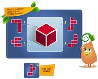 Make the cube. Educational game for kids, puzzle. development of spatial thinking in children suitable both for kids and adults. Task game which of the layouts vector illustration