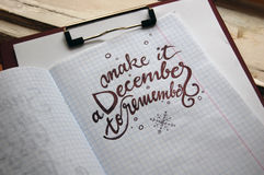 Make it a December to remember calligraphic background Stock Images