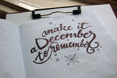 Make it a December to remember calligraphic background Stock Photography