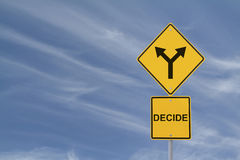 Make a Decision. Conceptual road sign on decision making Stock Photography