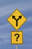 Make a Decision. Conceptual road sign on uncertainty or decision making Stock Images