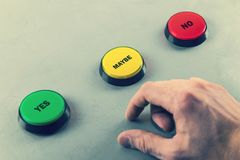 Make decision yes no or maybe. Push the button Stock Images