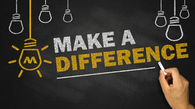 Make a difference. On blackboard background Royalty Free Stock Photos