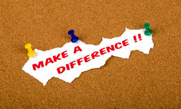 Make a difference. Concept on noticeboard Stock Photography