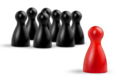 Make the difference. Red pawn in the foreground and blurred black pieces stock illustration