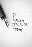 Make a difference. Today handwritten calendar entry Royalty Free Stock Image