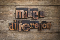 Make a difference written with letterpress type Stock Images