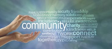 Make a Difference in Your Community Word Cloud. Female cupped hands around the word COMMUNITY and a relevant word tag cloud against a blue green bokeh background