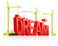 Make dream come true realize aspirations. Make dream come true live your dreams, determination and planning leads to satisfaction. Be positive and optimism lead stock illustration