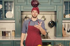 Make it easy. Relax put on some music. Composed cook is more efficient one. Man chef likes to cook in relaxing. Atmosphere. Guy professional chef feels relaxed royalty free stock photo