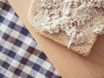 Make and eat Tuna sandwich. Royalty Free Stock Images