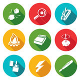 Make a fire, the fire source Icons Set. Vector Stock Photo