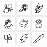 Make a fire, the fire source icons. Vector Illustration. Stock Photography