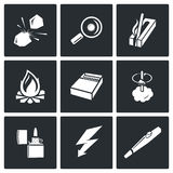 Make a fire, the fire source icons. Vector Illustration. Royalty Free Stock Photo