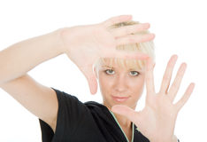 Make frame. Beautiful blondy make frame with fingers royalty free stock image