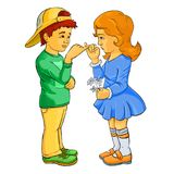 Make friends, make friends never never break friends. Boy and girl Royalty Free Stock Image