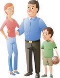 Make, fru och deras son Arkivfoto