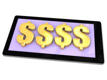 Make Gold money on a smart phone Stock Photo