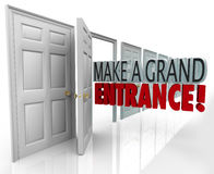 Make a Grand Entrance Debut Introduction Open Door Words. Make a Grand Entrance words in an open door to illustrate making a big splash and getting noticed with Stock Photo