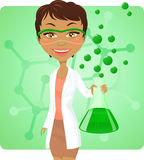Make it green chemist. Cheerful female chemist holding test tube with green liquid. Glasses in a separate layer royalty free illustration
