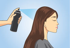 Make hair styling with hair spray Royalty Free Stock Photo