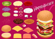 Make hamburger by your design very fast food Stock Photos