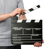 Make hands holding clapper board. Close-up of man holding blank clapper board isolated on white Royalty Free Stock Photography