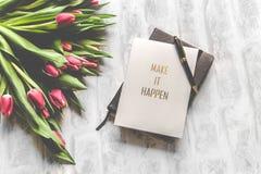 Make It Happen Book With Black Stylus Stock Photo