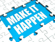 Make It Happen Puzzle Shows Motivation Stock Photo