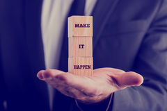 Make It Happen Texts on Wooden Blocks Stock Photography