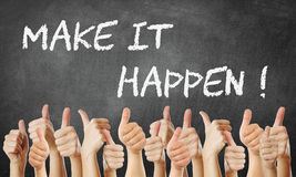 Make it happen. Thumbs up Make it happen royalty free stock photography