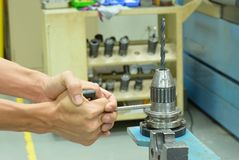 Make a hard locking to drill tool Royalty Free Stock Photos