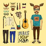 Make hipster set Royalty Free Stock Photo