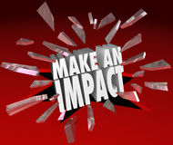 Make an Impact 3D Words Breaking Glass Important Difference. The words Make an Impact breaking through 3D red glass to illustrate making a difference, taking Stock Photos