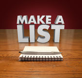 Make a List 3d Words Notepad Paper Pen Table Stock Photography
