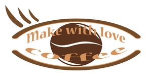 Make with love of coffee. Make with love coffee - the concept of a quality drink. Coffee grain and inscription. A cafe. Banner Royalty Free Stock Photos