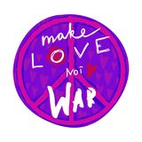 Make love not war. Hand drawn lettering with hippie peace symbol and hearts. Stock Images
