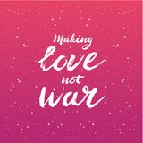 Make love not war lettering - calligraphy postcard or poster graphic design element Stock Photo