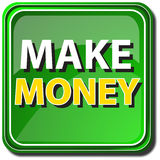 Make money. A green button on a white background Stock Images