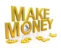 Make Money. 3d man with golden Make Money text and currencies symbols Stock Photo