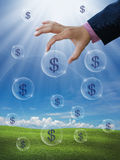 Make money. An idea for make money with business hand and dollar sign stock image